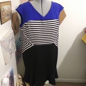 Plus size black and blue dress